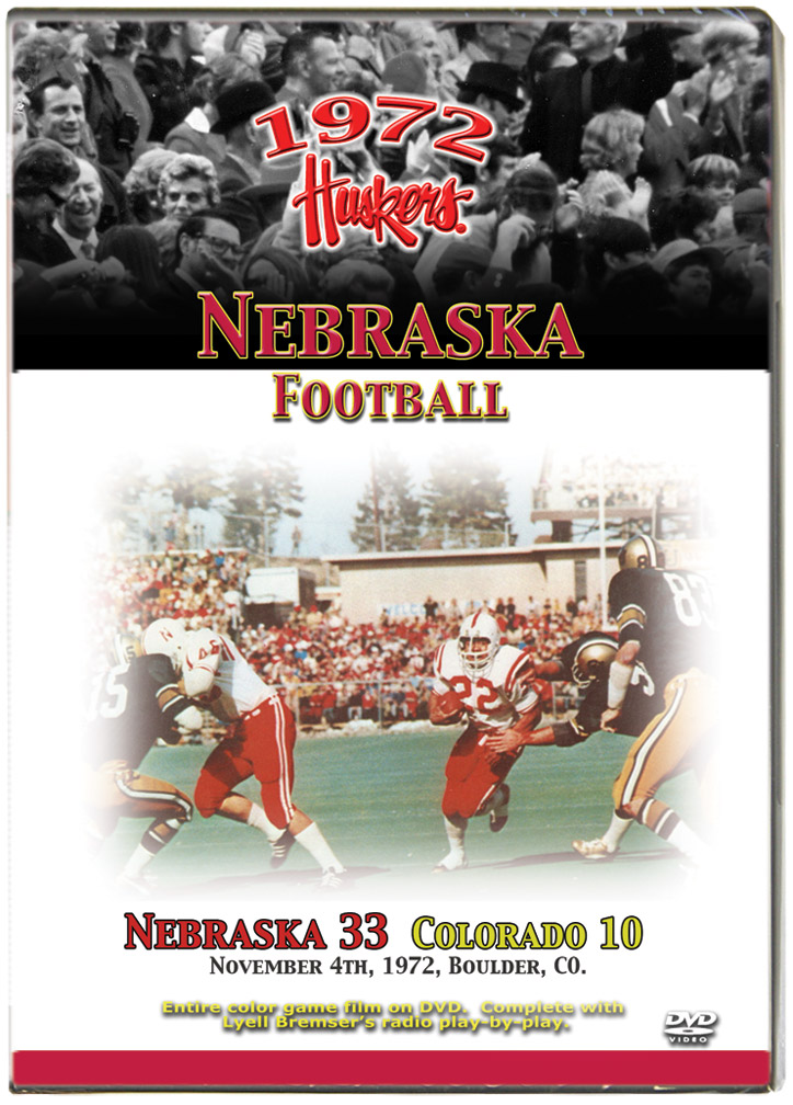 1972 Huskers vs Colorado Buffaloes Husker football, Nebraska cornhuskers merchandise, husker merchandise, nebraska merchandise, nebraska cornhuskers dvd, husker dvd, nebraska football dvd, nebraska cornhuskers videos, husker videos, nebraska football videos, husker game dvd, husker bowl game dvd, husker dvd subscription, nebraska cornhusker dvd subscription, husker football season on dvd, nebraska cornhuskers dvd box sets, husker dvd box sets, Nebraska Cornhuskers, 1972 Colorado