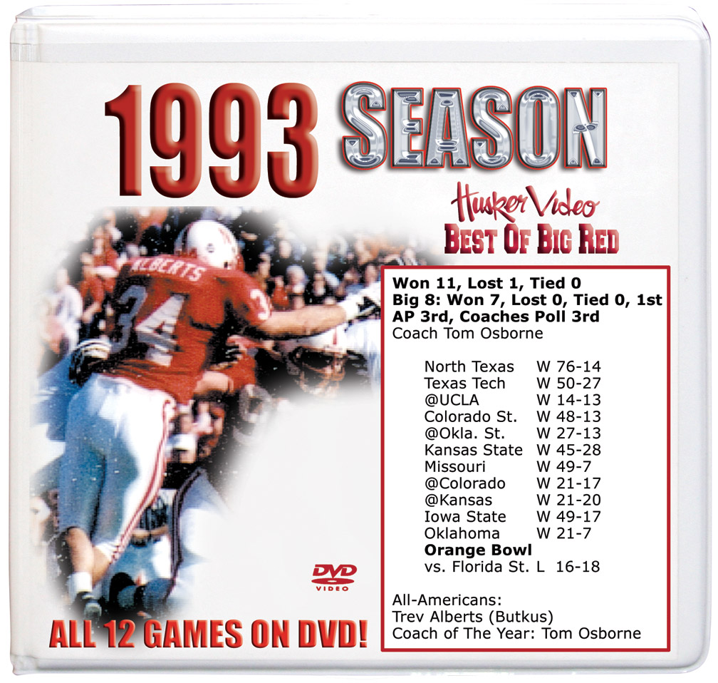 1993 Complete Season on DVD Husker football, Nebraska cornhuskers merchandise, husker merchandise, nebraska merchandise, nebraska cornhuskers dvd, husker dvd, nebraska football dvd, nebraska cornhuskers videos, husker videos, nebraska football videos, husker game dvd, husker bowl game dvd, husker dvd subscription, nebraska cornhusker dvd subscription, husker football season on dvd, nebraska cornhuskers dvd box sets, husker dvd box sets, Nebraska Cornhuskers, 1993 Complete Season on DVD
