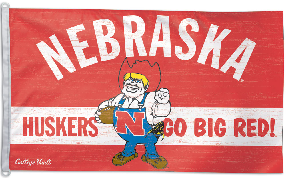 Old School Herbie Flag Nebraska Cornhuskers, Old School Herbie Flag