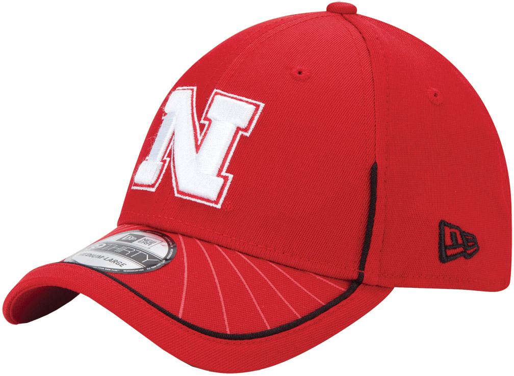 New Era Red Hat Blk Burst White N husker football, nebraska merchandise, husker merchandise, nebraska cornhuskers apparel, husker apparel, nebraska apparel, husker hats, nebraska hats, nebraska caps, husker caps, Nebraska Cornhuskers, New Era Red Hat Blk Burst White N