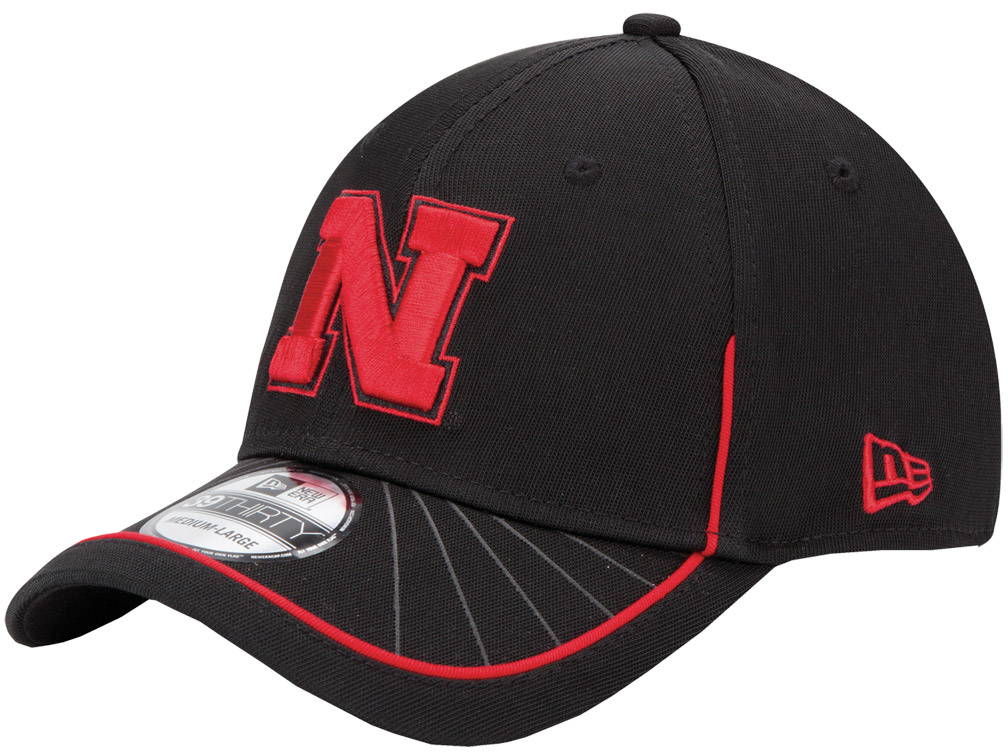 New Era Blk Hat White Starburst Red N husker football, nebraska merchandise, husker merchandise, nebraska cornhuskers apparel, husker apparel, nebraska apparel, husker hats, nebraska hats, nebraska caps, husker caps, Nebraska Cornhuskers, New Era Blk Hat White Starburst Red N