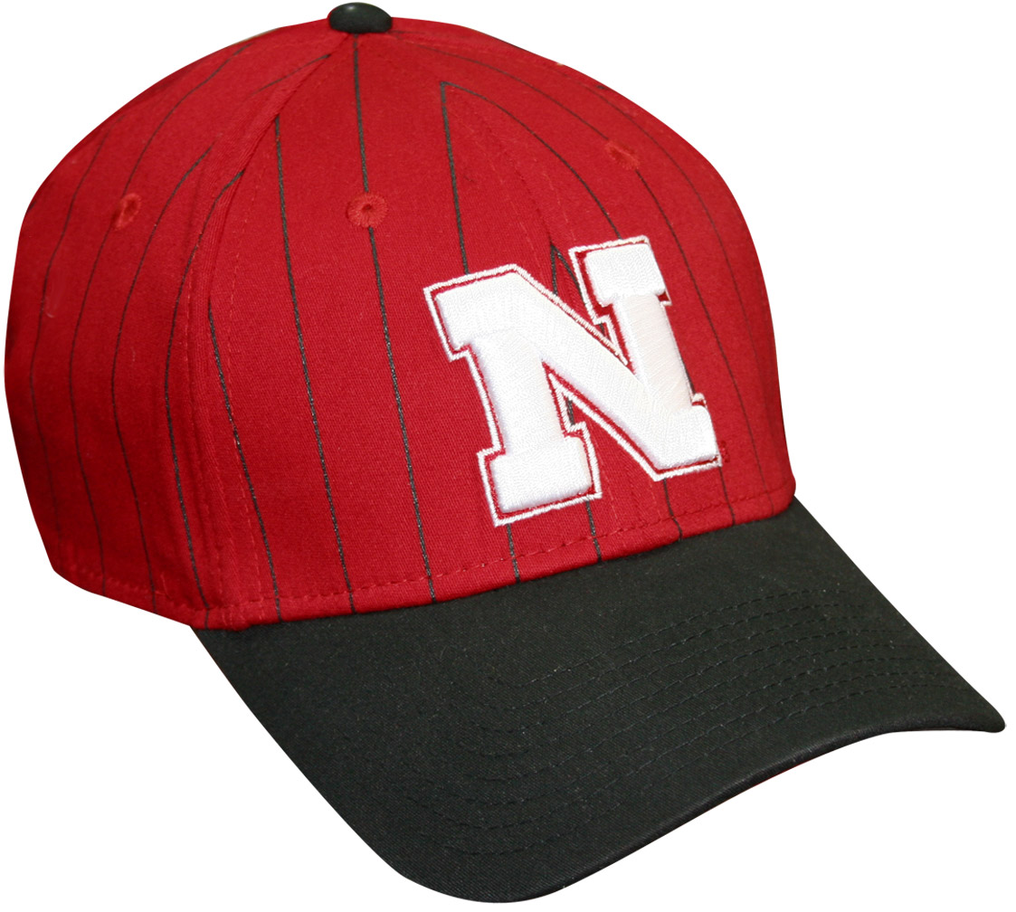 New Era Red Hat Blk Pinstripe White N husker football, nebraska merchandise, husker merchandise, nebraska cornhuskers apparel, husker apparel, nebraska apparel, husker hats, nebraska hats, nebraska caps, husker caps, Nebraska Cornhuskers, New Era Red Hat Blk Pinstripe White N