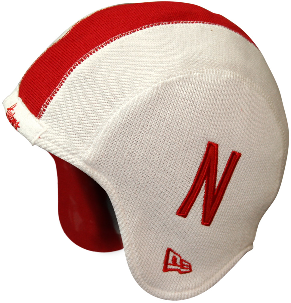 New Era White Helmet Knit With N Graphic husker football, nebraska merchandise, husker merchandise, nebraska cornhuskers apparel, husker apparel, nebraska apparel, husker hats, nebraska hats, nebraska caps, husker caps, Nebraska Cornhuskers, New Era White Knit Helmet-Like N Graphic