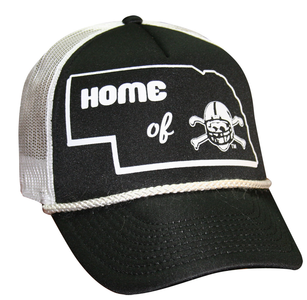 Home Of Blackshirts Hat Meshback White husker football, nebraska merchandise, husker merchandise, nebraska cornhuskers apparel, husker apparel, nebraska apparel, husker hats, nebraska hats, nebraska caps, husker caps, Nebraska Cornhuskers, Home Of Blackshirts Hat Meshback White