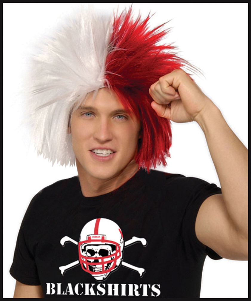 Red/White Crazy Wig Nebraska Cornhuskers, Red/White Crazy Wig