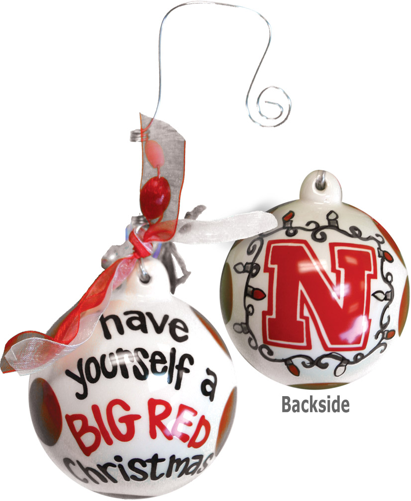 Ceramic Ball Christmas Ornament Nebraska Cornhuskers, Ceramic Ball Christmas Ornament