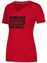 Adidas Lady Big Block Huskers V-Neck Tee