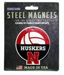 Huskers Volleyball Steel Magnet - 4 inch