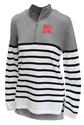 Nebraska Ladies Striped Quarter Zip Pulover
