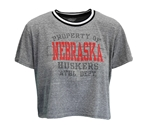 Womens Huskers Property Ringer Crop