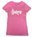 Youth Gals Pink N Glitter Huskers Tee
