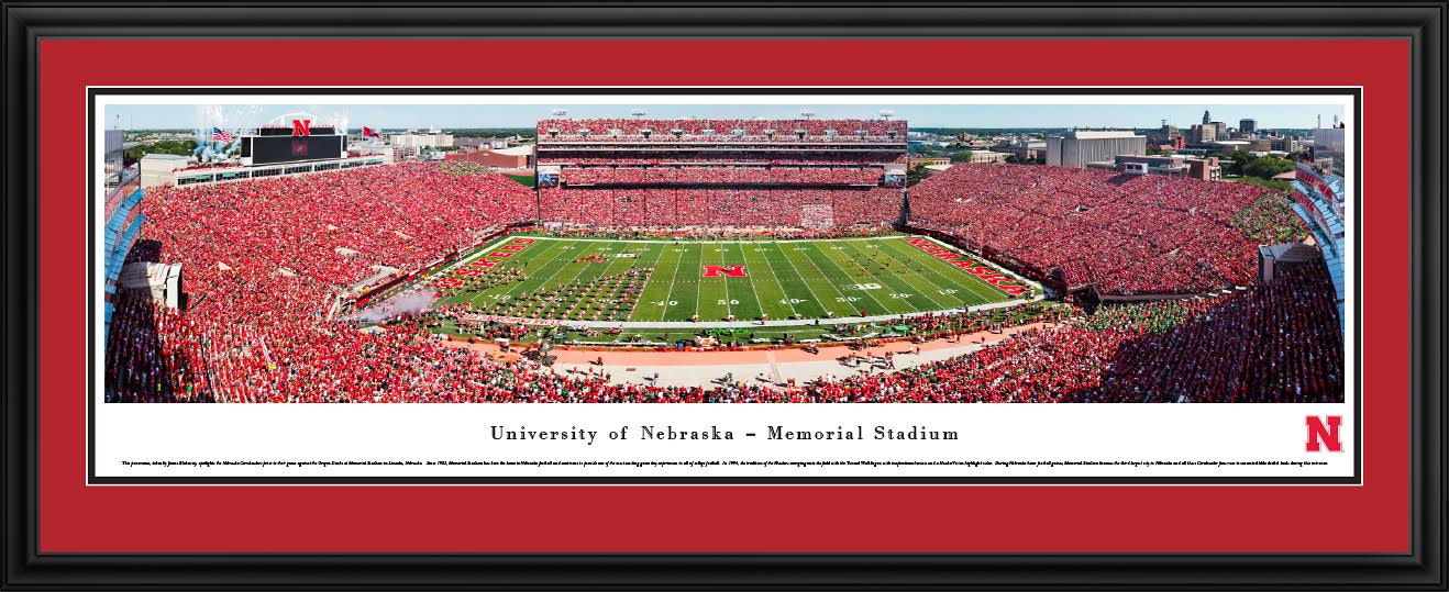 Deluxe Framed Nebraska 50 Yard Line Stadium Panorama