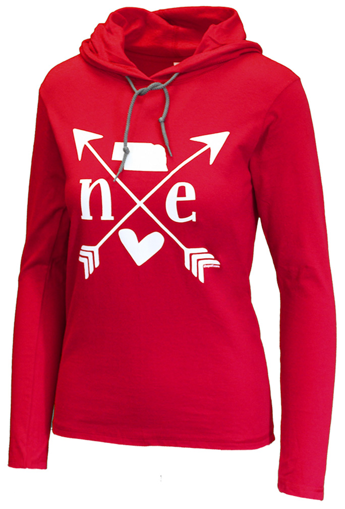 Nebraska Heart Ladies Lightweight Hoodie