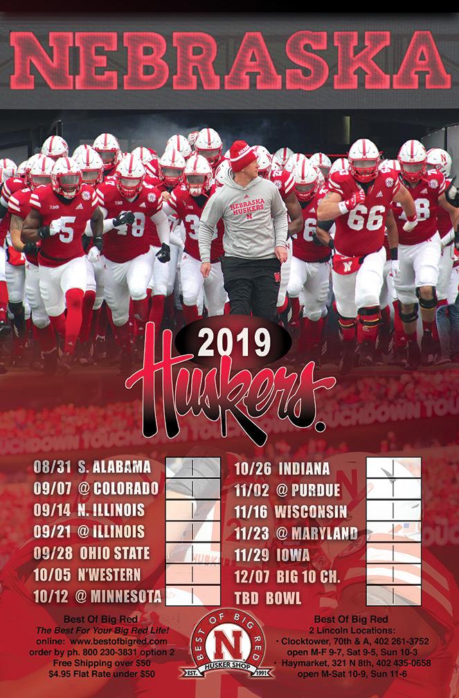 Husker Schedule 2019 2019 Nebraska Legacy Schedule Poster