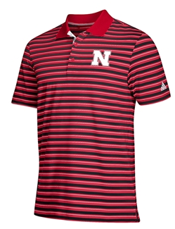 Adidas Husker Red N Black Striped Golf Polo Nebraska Cornhuskers, Nebraska  Mens Polo's, Huskers  Mens Polo's, Nebraska Polo's, Huskers Polo's, Nebraska Golf Items, Huskers Golf Items, Nebraska Adidas Husker Red N Black Striped Golf Polo, Huskers Adidas Husker Red N Black Striped Golf Polo