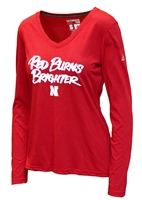 Adidas Huskers Red Burns Brighter Ladies LS Tee Nebraska Cornhuskers, Nebraska  Ladies Tops, Nebraska Adidas Burns Brighter Womens Long Sleeve Ultimate Tee, Huskers Adidas Burns Brighter Womens Long Sleeve Ultimate Tee