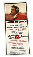 Autographed Salute To Coach Retirement Dinner Ticket Nebraska Cornhuskers, 2003 Kansas State All Access Pass