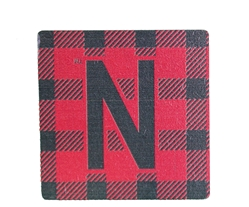 Buffalo Plaid Skinny N Wood Magnet Nebraska Cornhuskers, Nebraska Stickers Decals & Magnets, Huskers Stickers Decals & Magnets, Nebraska Buffalo Plaid Skinny N Wood Magnet, Huskers Buffalo Plaid Skinny N Wood Magnet