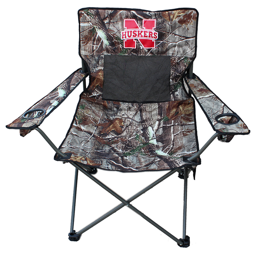 Nebraska Cornhuskers Collapsible Round Table with 4 Cup Holders and Carry Bag Red White