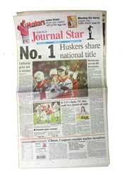 Frost N Osborne Autographed 1997 Champs Journal Star Scott Frost Autographed 1998 Orange Bowl Journal Star Preview Paper