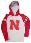Go Big Red N Hooded Youth Raglan Nebraska Cornhuskers, Nebraska  Youth, Huskers  Youth, Nebraska Gray Hooded Raglan Tee WW, Huskers Gray Hooded Raglan Tee WW