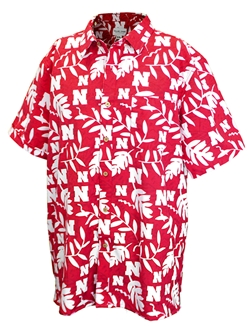 Hawaiian Husker Button Up Nebraska Cornhuskers, Nebraska  Mens Polo's, Huskers  Mens Polo's, Nebraska Polo's, Huskers Polo's, Nebraska Hawaiian Husker Button Up , Huskers Hawaiian Husker Button Up