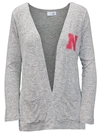 Husker Heathered Cardi Wrap Nebraska Cornhuskers, Nebraska  Ladies Tops, Huskers  Ladies Tops, Nebraska Heathered Gray W Cardi SJ, Huskers Heathered Gray W Cardi SJ