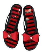 Husker Lily Bee Striped Summer Flops Nebraska Cornhuskers, Nebraska  Ladies, Huskers  Ladies, Nebraska  Footwear, Huskers  Footwear, Nebraska  Summer Fun, Huskers  Summer Fun, Nebraska N Huskers Chevron Flip flop, Husker Lily Bee Striped Summer Flops