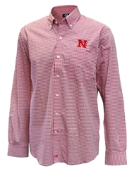 Cutter N Buck Huskers Gingham Nebraska Cornhuskers, Nebraska  Mens Polo's, Huskers  Mens Polo's, Nebraska Polo's, Huskers Polo's, Nebraska Huskers Cutter and Buck Gingham, Huskers Huskers Cutter and Buck Gingham