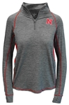 Ladies Quarter Zip Sabre Jacket  Nebraska Cornhuskers, Nebraska  Ladies Outerwear, Huskers  Ladies Outerwear, Nebraska Outerwear, Huskers Outerwear, Nebraska Gray W Sabre 14 Zip Jacket Col, Huskers Gray W Sabre 14 Zip Jacket Col