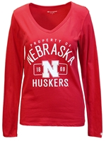 Nebraska 1869 VNeck Sally Tee Nebraska Cornhuskers, Nebraska  Ladies Tops, Huskers  Ladies Tops, Nebraska  Ladies T-Shirts, Huskers  Ladies T-Shirts, Nebraska  Ladies, Huskers  Ladies, Nebraska  Long Sleeve, Huskers  Long Sleeve, Nebraska Red LS W Vneck Sally Tee, Huskers Red LS W Vneck Sally Tee