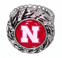 Pinwheel Nebraska Stretch Ring Nebraska Cornhuskers, Nebraska  Ladies Accessories, Huskers  Ladies Accessories, Nebraska  Jewelry & Hair, Huskers  Jewelry & Hair, Nebraska  Ladies, Huskers  Ladies, Nebraska Pinwheel Nebraska Stretch Ring, Huskers Pinwheel Nebraska Stretch Ring