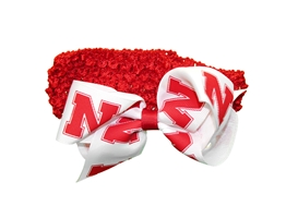Husker Babes Crochet Headband N Bow Nebraska Cornhuskers, Nebraska  Childrens, Huskers  Childrens, Nebraska  Infant, Huskers  Infant, Nebraska  Kids, Huskers  Kids, Nebraska  Head Bands, Huskers  Head Bands, Nebraska Red Crochet Headband N Bow, Huskers Red Crochet Headband N Bow