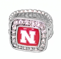 Square Bling Nebraska Stretch Ring Nebraska Cornhuskers, Nebraska  Ladies Accessories, Huskers  Ladies Accessories, Nebraska  Jewelry & Hair, Huskers  Jewelry & Hair, Nebraska  Ladies, Huskers  Ladies, Nebraska Square Bling Nebraska Stretch Ring, Huskers Square Bling Nebraska Stretch Ring