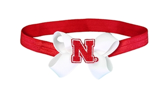 Stretch Baby Bow Headband Ribbon Nebraska Cornhuskers, Nebraska  Infant, Huskers  Infant, Nebraska  Kids, Huskers  Kids, Nebraska  Head Bands, Huskers  Head Bands, Nebraska Stretch Baby Bow Headband Ribbon, Huskers Stretch Baby Bow Headband Ribbon
