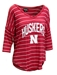Womens Huskers Stripe V-neck Top - AT-C5149