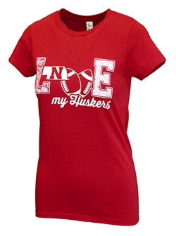 Womens Love My Huskers Tee Nebraska Cornhuskers, Nebraska  Ladies, Huskers  Ladies, Nebraska  Ladies T-Shirt, Huskers  Ladies T-Shirt, Nebraska Womens Love My Huskers Concert Tee, Huskers Womens Love My Huskers Concert Tee
