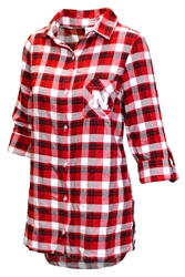 Womens Nebraska Piedmont LS Flannel Nebraska Cornhuskers, Nebraska  Ladies Tops, Huskers  Ladies Tops, Nebraska Red Womens Piedmont LS Flannel Shirt Concepts, Huskers Red Womens Piedmont LS Flannel Shirt Concepts
