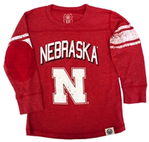 Young Nebraskans Jersey Stripe Tee Nebraska Cornhuskers, Nebraska  Childrens, Huskers  Childrens, Nebraska  Infant, Huskers  Infant, Nebraska Red LS Jersey Stripe Sleeve Tee WW, Huskers Red LS Jersey Stripe Sleeve Tee WW