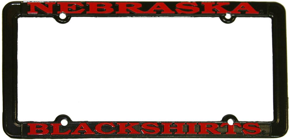 Scott Frost And Tom Osborne >> Blackshirts Black License Plate Frame