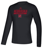 Adidas 2020 Nebraska Huskers Locker Tail Sweep LS Tee - Black