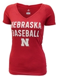 Adidas Ladies Nebraska Baseball Triblend Tee