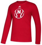 Adidas Nebraska Baseball Amped Tee