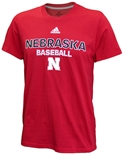 Adidas Nebraska Baseball Tee - Red