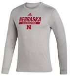 Adidas 2020 Nebraska Huskers Locker Tail Sweep LS Tee - Grey