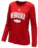 Adidas Womens Nebraska Locker L/S Tee