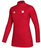 Adidas Womens Nebraska Official Sideline Quarter Zip - Red