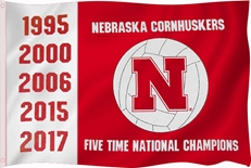Five Time Champs Nebraska Volleyball Flag