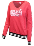 Go Big Red Gals Varsity Stripe Sweatshirt