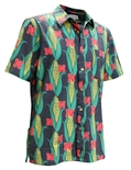 Hawaiian Cornhusker Print Button Up